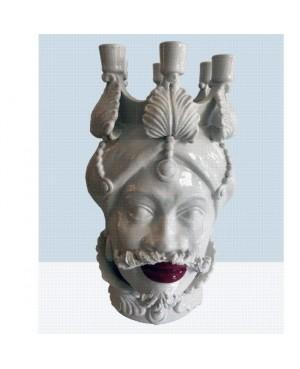 Vaso Testa di Moro HKF BIANCO CANDELABRO 42 SM